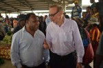 Foreign Minister Bob Carr with PNG Foreign Minister Rimbink Pato at the Mount Hagen market in Papua New Guinea on December 4, 2012 (Photo: Michael Wightman)