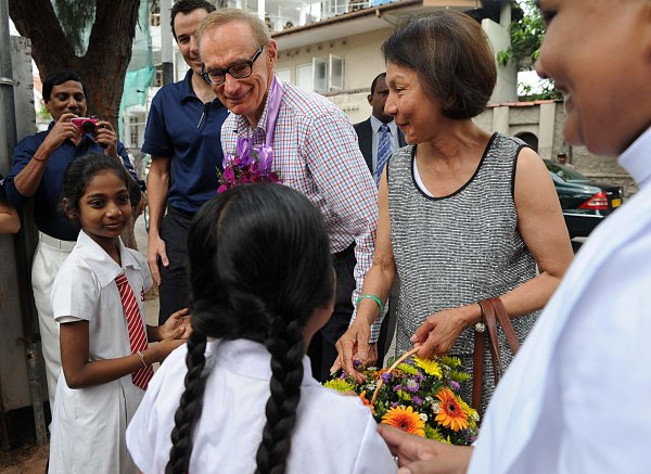 Foreign Minister Bob Carr and Helena Carr with staff and students at St Anthony's School in Colombo on December 15, 2012 (Photo: Samararathne Kodikara Ishara)