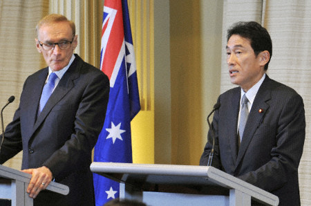 Foreign Minister Bob Carr with Japanese Foreign Minister Fumio Kishida in Sydney on January 13, 2012 (Photo: Kyodo News)