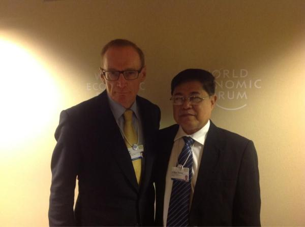 Foreign Minister Bob Carr with Myanmar Minister U Soe Thane on January 25, 2013