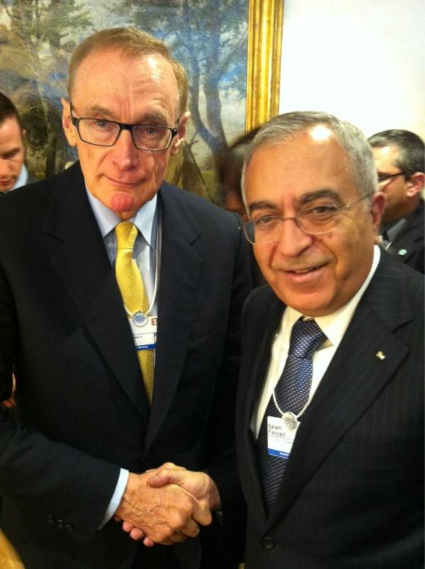 Foreign Minister Bob Carr with Palestinian Authority Prime Minister Salam Fayyad on January 26, 2013