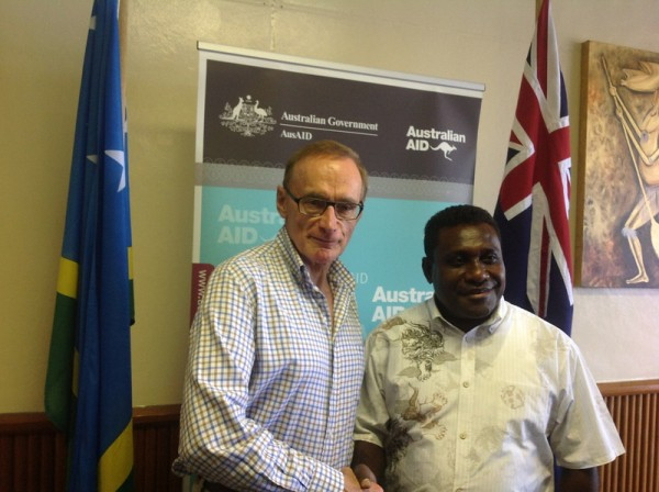 Foreign Minister Bob Carr with Solomon Islands Prime Minister Gordon Darcy Lilo in Honiara on February 10, 2013