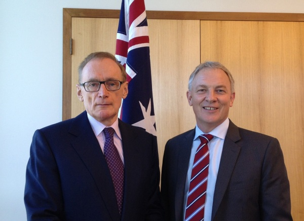 Foreign Minister Bob Carr with New Zealand Shadow Foreign Minister the Hon Phil Goff in Canberra on February 25, 2013