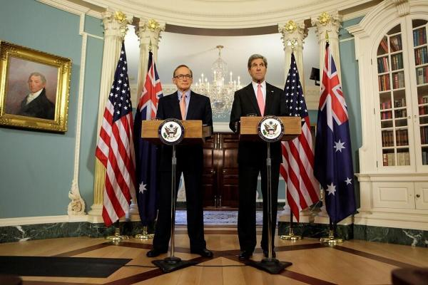 Foreign Minister Bob Carr with US Secretary of State John Kerry in Washington on March 18, 2012
