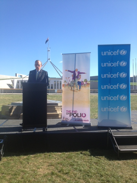 Foreign Minister Bob Carr speaking at the launch of the Polio Eradication and Endgame Strategic Plan in Canberra on March 12, 2013