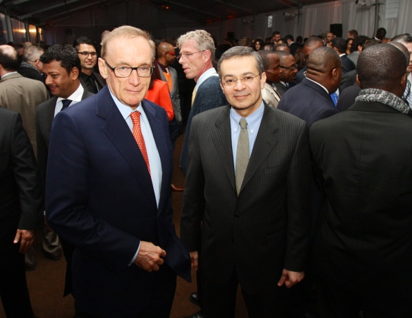 Foreign Minister Bob Carr with Ambassador Mootaz Ahmadein Khalil, Egyptian Permanent Representative to the UN, at Australia's Arms Trade Treaty reception in New York on March 20, 2013 (Photo: Trevor Collens)