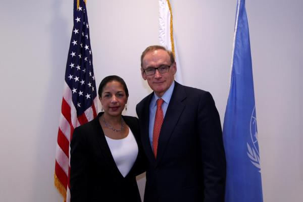 Foreign Minister Bob Carr with Ambassador Susan Rice, US Permanent Representative to the UN on March 20, 2013 (Photo: Trevor Collens)