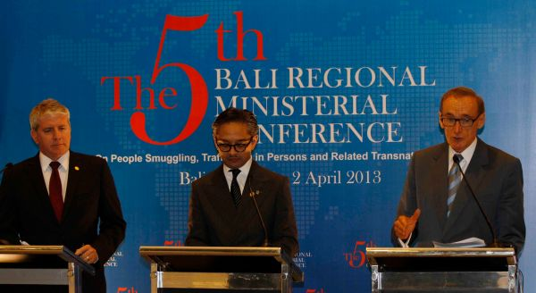 Foreign Minister Bob Carr, Indonesian Foreign Minister Marty Natalegawa and Minister for Immigration and Citizenship Brendan O'Connor address the press in Bali on April 2, 2013