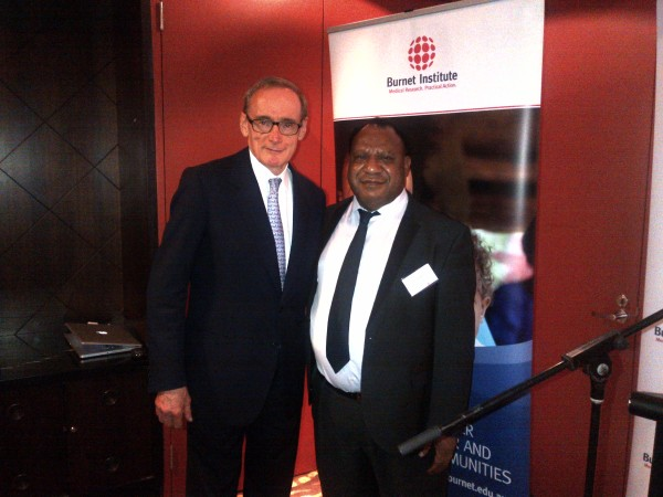 Foreign Minister Bob Carr with PNG Foreign Minister Rimbink Pato at the Burnet Institute's fundraising dinner for maternal and child health in Port Moresby on May 3, 2013