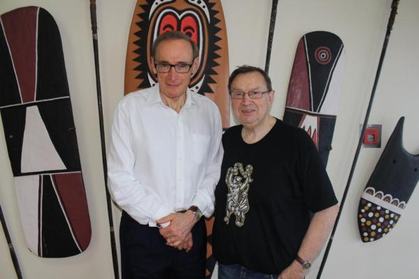 Foreign Minister Bob Carr with Harold Mitchell, philanthropist and founder of the Harold Mitchell Foundation on May 4, 2013